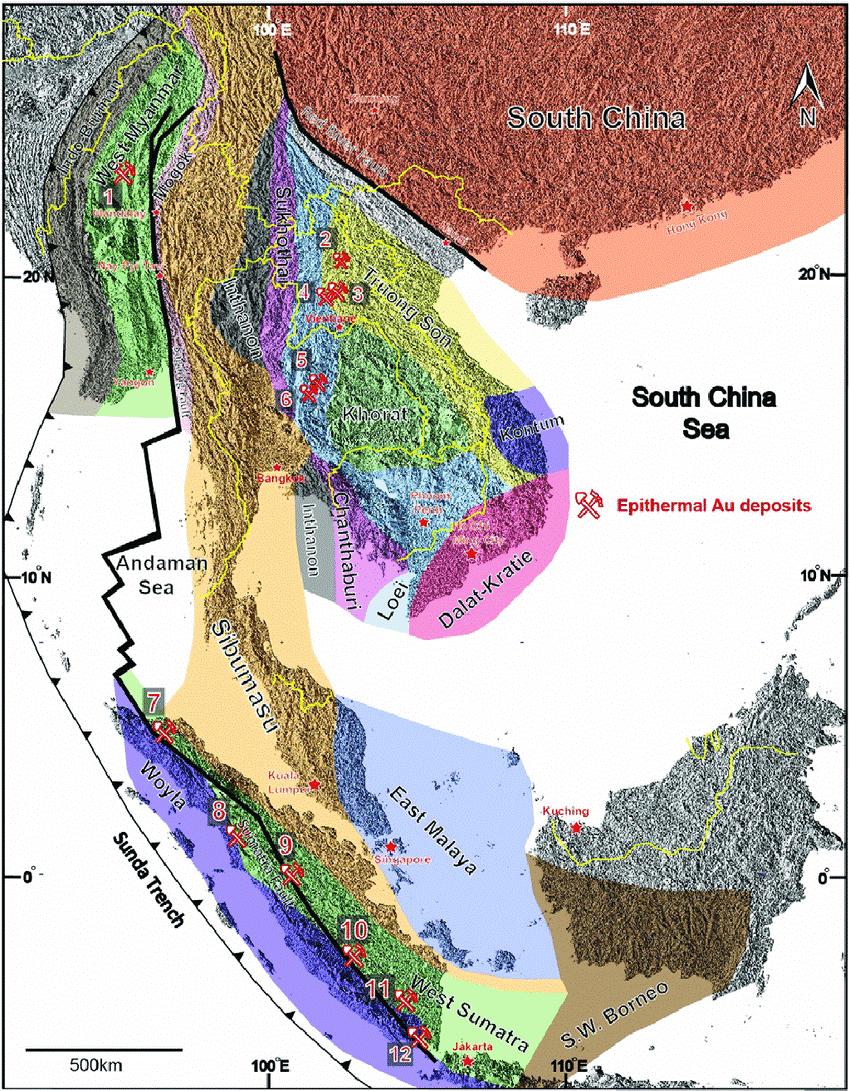se asia regional map showing locationsof the major epithermaldeposits 1 monywa high s myanmar 2 phu he low s laos 3 lct low s laos 4 ban houayxai