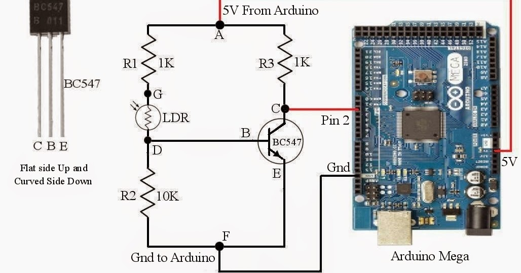 Simple Circuit To Sense Light Using Arduino Mega And Ldr