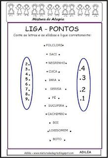 Liga pontos palavras folclórica