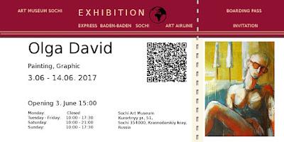 Einladung zur Ausstellung von Olga David, Art Museum Sochi