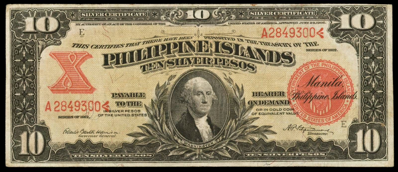Philippine Islands 10 Pesos note Silver Certificate 1912 George Washington