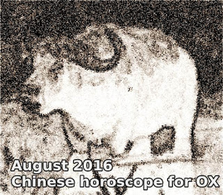 August 2016 Chinese horoscope for OX