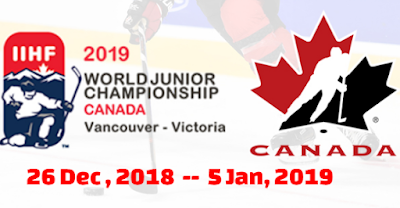 IIHF, World Junior, ice hockey, Championship, Canada, 2018, 2019, Teams, groups Schedule, fixtures.