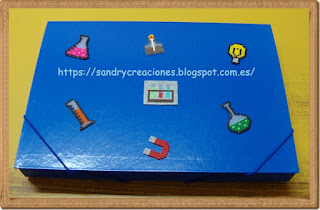 Decoración carpeta en Hama Beads ciencia