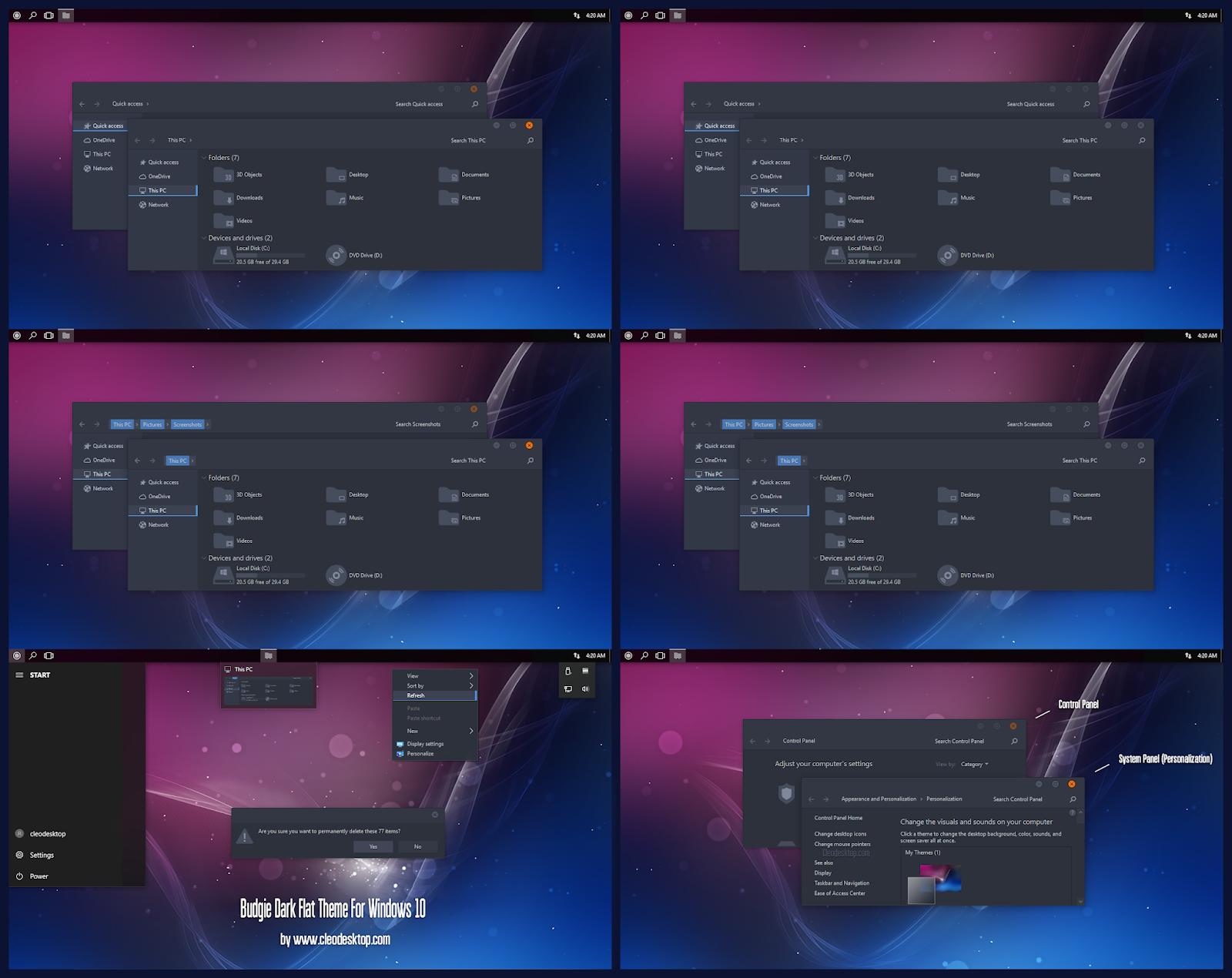 Budgie Dark Flat Theme For Windows10 May 2019 Update 1903