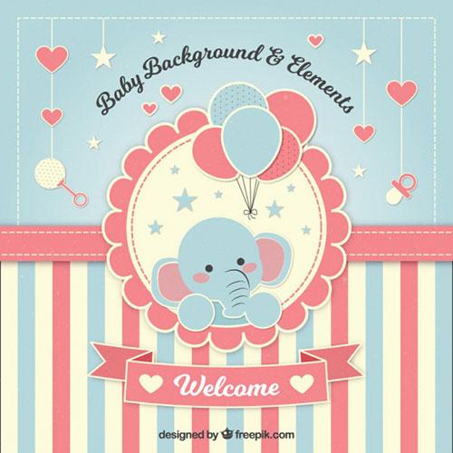 adorable-fondo-de-bienvenida-de-bebe-con-un-elefante-by-Saltaalavista-Blog