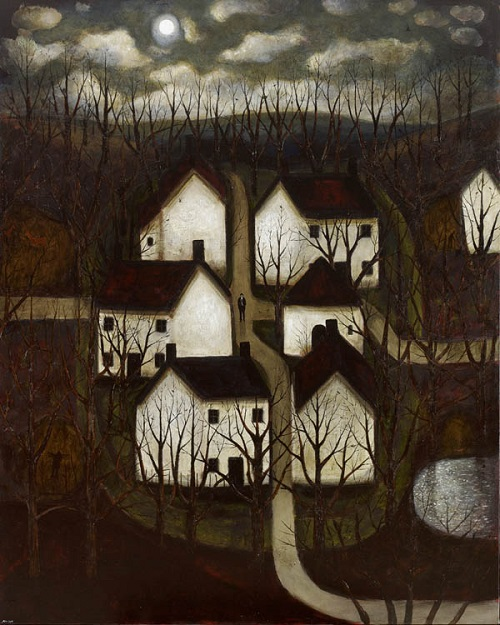 "Obra de arte, pintura: ""Moon Village"" by John Caple, 2017"