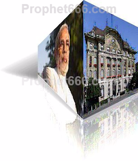 Nostradamus Image of Modi and Swiss Bank in 3D