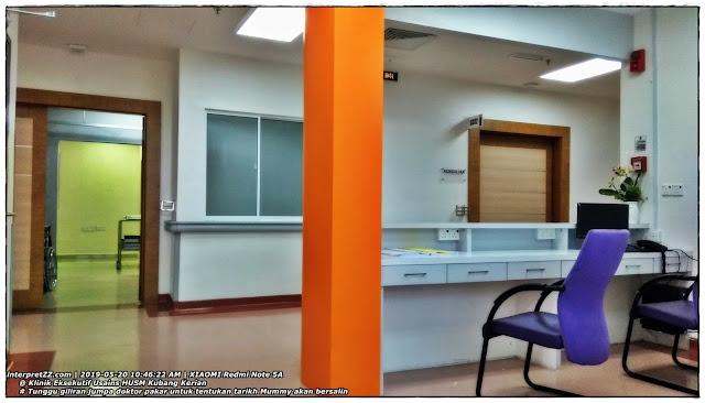 Menunggu giliran berjumpa doktor pakar di Klinik Eksekutif Usains untuk tentukan tarikh Mummy akan bersalin.