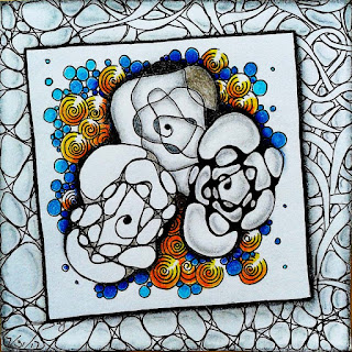 Helen's Jouney A-Z with Letter C for Crumpled Roses with additional tangle patterns Nzeppel, Hollibaugh, Pintemps and Tipple