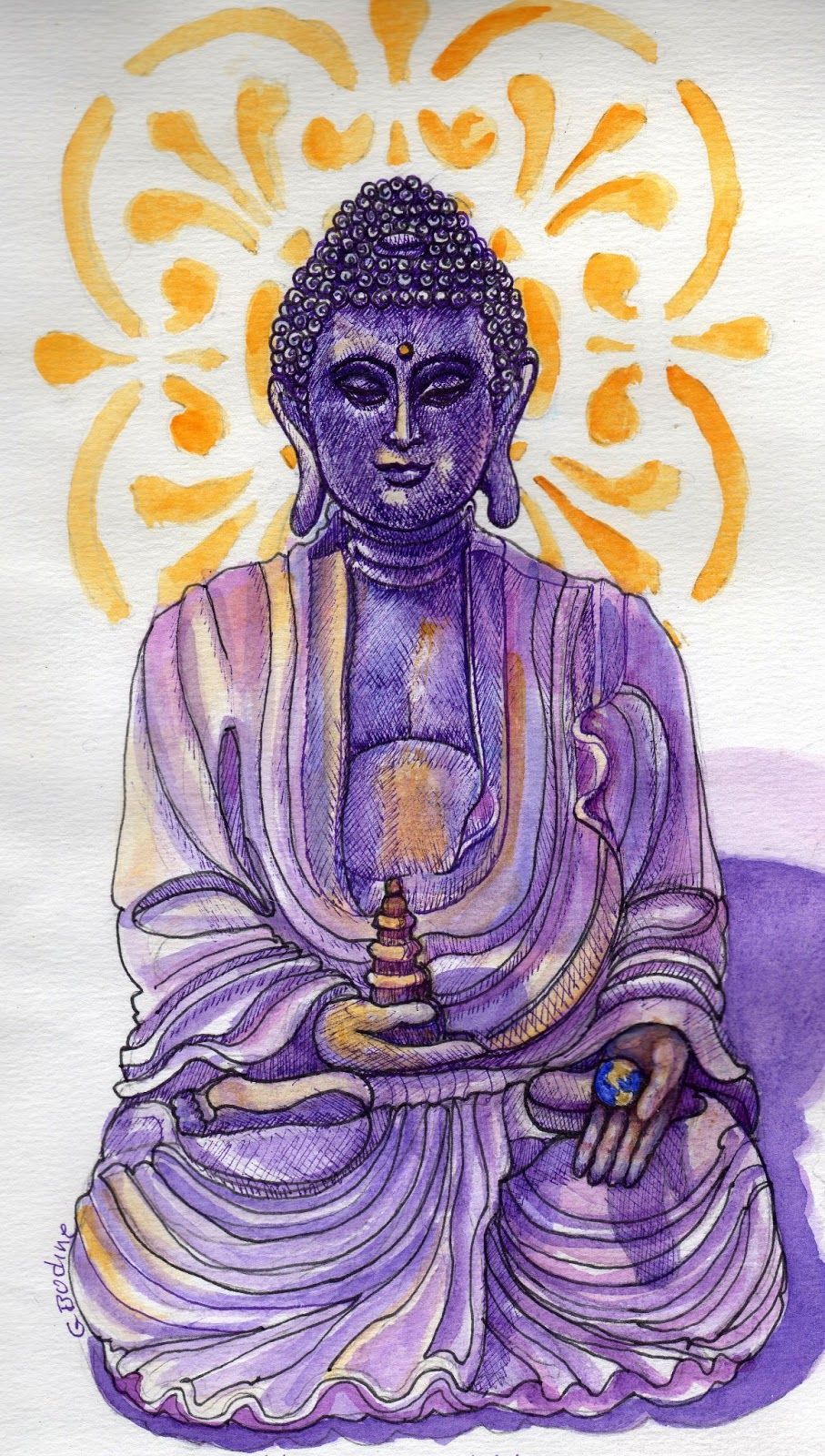 Gayle's Art Journal Journey: Drawing Buddha's Hand