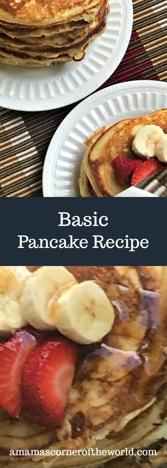 Pinnable image for a basic pancake recipe