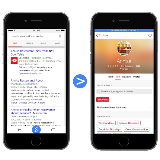 Surfacing content from iOS apps in Google Search