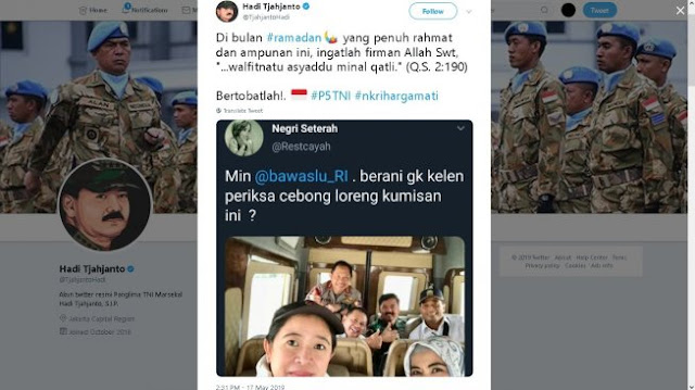 Dituding Dukung 01, Panglima TNI Hadi Tjahjanto: Bertobatlah!