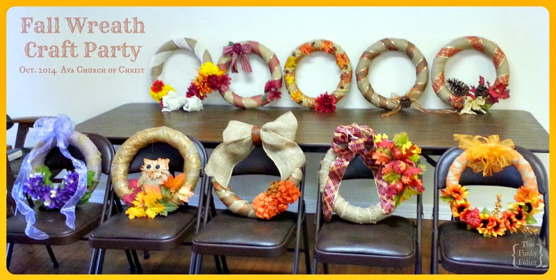 fall wreaths created at a church craft party and ladies fellowship
