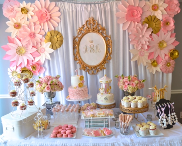 ruffle, lace, pearl, floral first birthday party