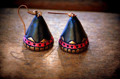 Cone shape terracotta earrings - quillingpaperdesigns