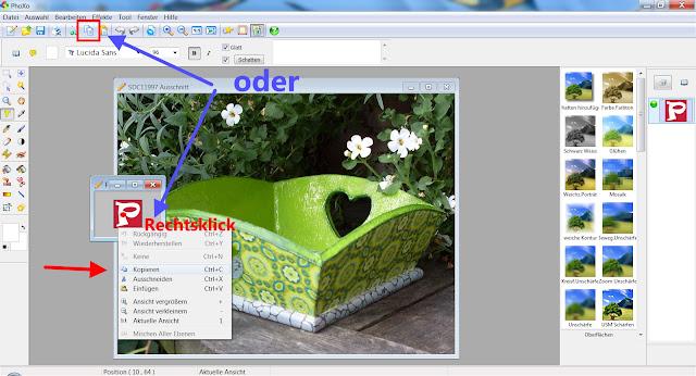 Screenshot PhoXo zum Kopieren von Objekten