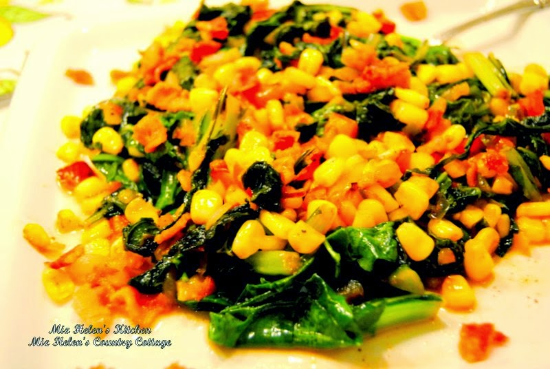 Mustard Greens and Corn Skillet at Miz Helen's Country Cottage