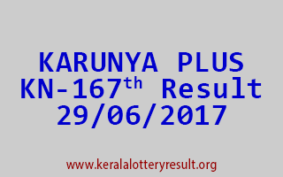 KARUNYA PLUS Lottery KN 167 Results 29-6-2017