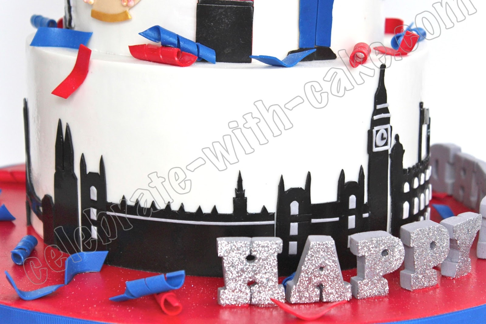Union Jack London Themed Tier Cake