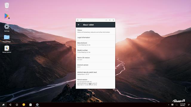 Escritorio e información del sistema de Remix OS 3