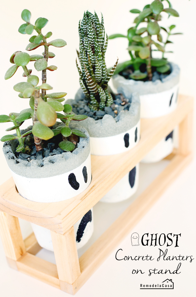 how to make concrete planters with ghost face and wooden stand