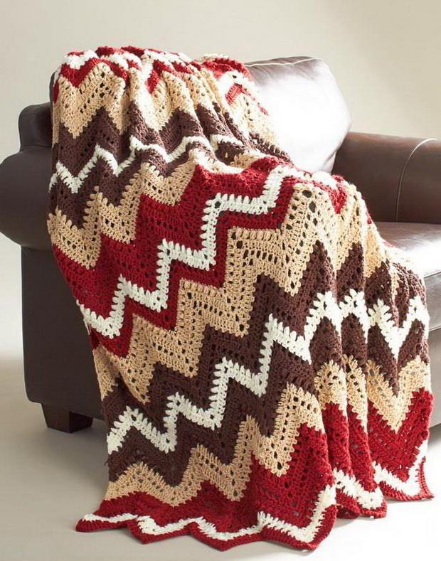 Crochet blanket, zigzag / ripple stitch, afghan