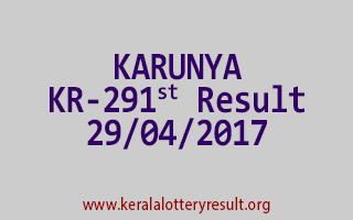 KARUNYA Lottery KR 291 Results 29-4-2017