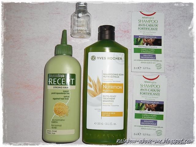 Opinie Szampon  z oliwą z oliwek virgen extra (La Chinata) Lotion przeciw wypadaniu włosów (Subrina Recept / Ilirija) Jedwabisty szampon do włosów, odżywczy z wyciągiem z owsa (Yves Rocher) Wzmacniający szampon przeciw wypadaniu włosów (Equilibra)