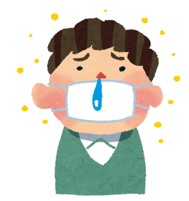 花粉症のイラスト「マスクと鼻水の男性」 | かわいいフリー素材集 ...