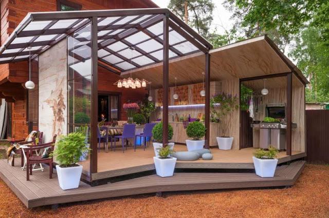 проекты домов с летней кухней фото