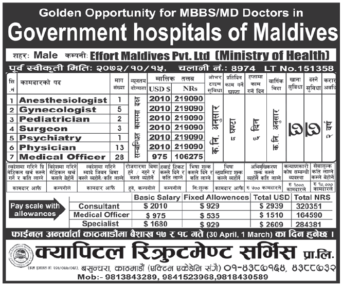 Jobs in Maldives for Nepali, Salary Rs 2,19,090   New Gulf Jobs for