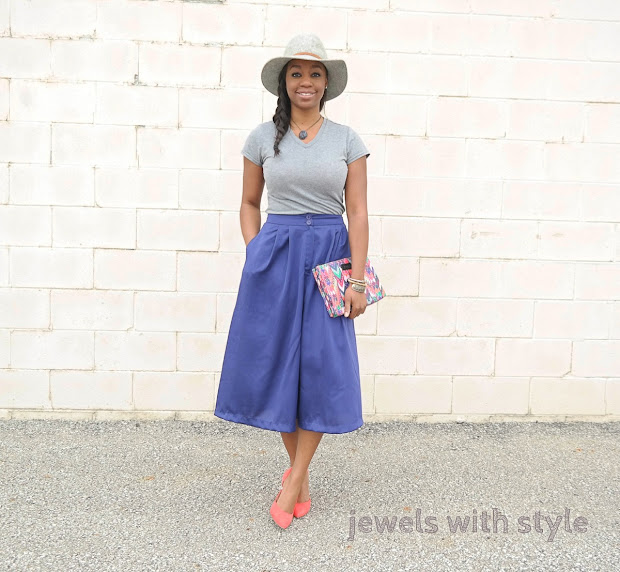 how to wear culottes, culotte outfit ideas, culottes 2016, how to wear overalls, overalls 2016, how to wear flare jeans, flare jeans 2016, old fashion trends that are back in style, throwback fashion trends, old fashion trends that are back, blue culottes, gray fedora outfit ideas, orange pumps, jewels with style, columbus ohio stylist, columbus ohio blogger, black fashion blogger, black style blogger