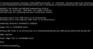 Sử dụng công cụ Oscdimg tạo tệp ảnh ISO từ bộ cài Windows