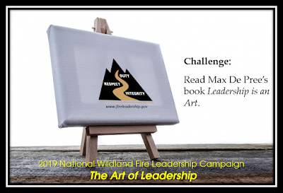 "easel with the Wildland Fire Leadership Development Program logo -Challenge #4 - The Art of Leadership: Read Max De Pree's book ""Leadership is an Art."""