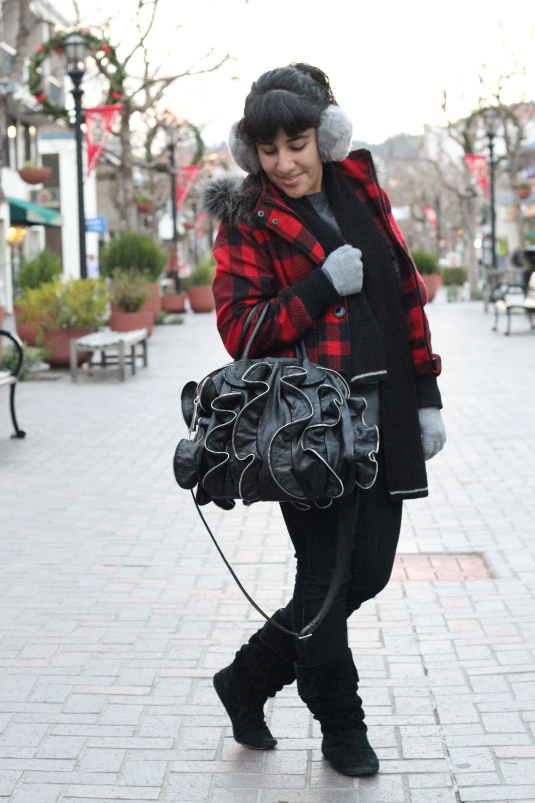 Red Plaid Winter Jacket and Boots Winter Outfit