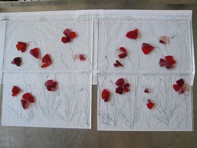 Red Fused Glass Poppy Petals on Original Drawing for Recycled Antique Window