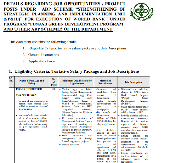 environment-protection-department-punjab-lahore-jobs-2020-latest