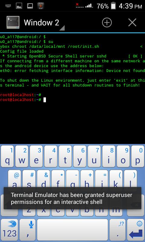 using android terminal emulator