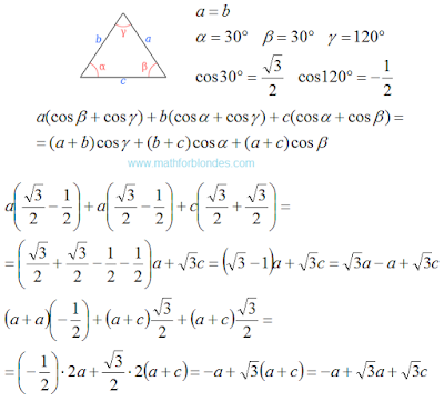 Isosceles obtuse triangle. Law of cosines. Mathematics For Blondes.