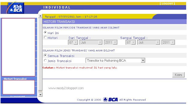 Neody's Blog: Cara Melihat history transaksi transfer klik bca
