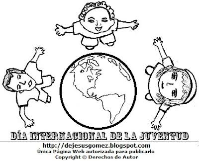 Dibujo de jóvenes con el planeta tierra por el Día Internacional de la Juventud o Día de la Juventud para colorear, pintar o imprimir. Imagen de Jesus Gómez