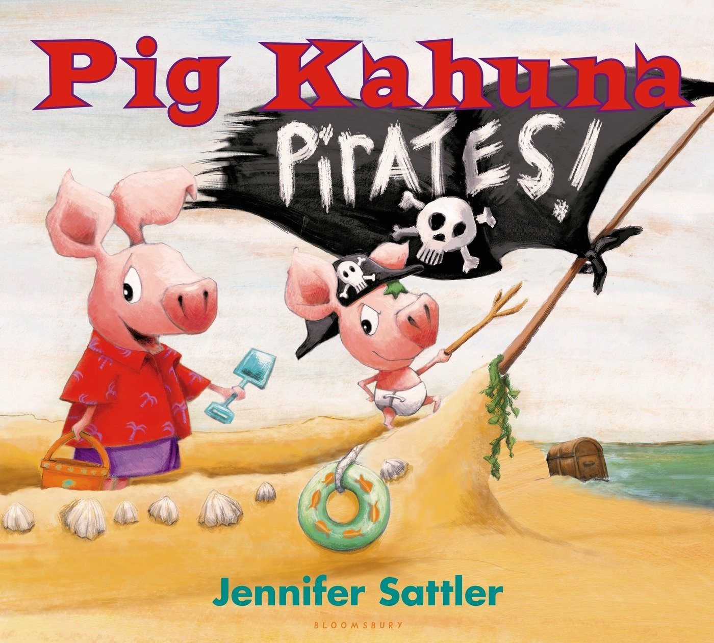 Pig Kahuna Pirates! by Jennifer Sattler, included in a book review list of ocean books for preschoolers