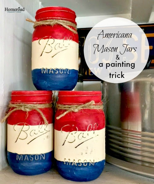 Americana Painted Mason Jars and a painting trick www.homeroad.net