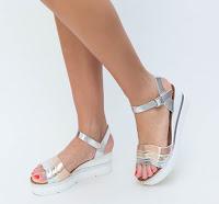 Sandale cu talpa groasa argintii