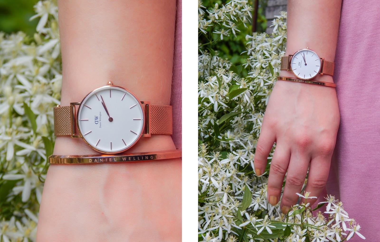 6 długa sukienka maxi hiszpanka wakacyjna stylizacja sandały z pomponami kolorowymi zegarek i bransoletka daniel wellington ogród botaniczny stylizacja modna polka-horz