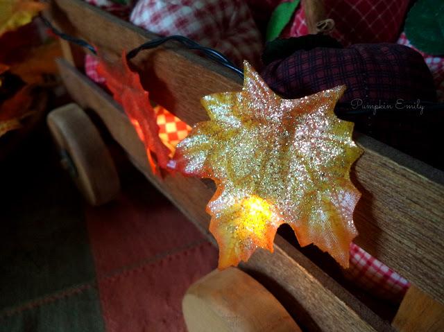 leaves on a string light