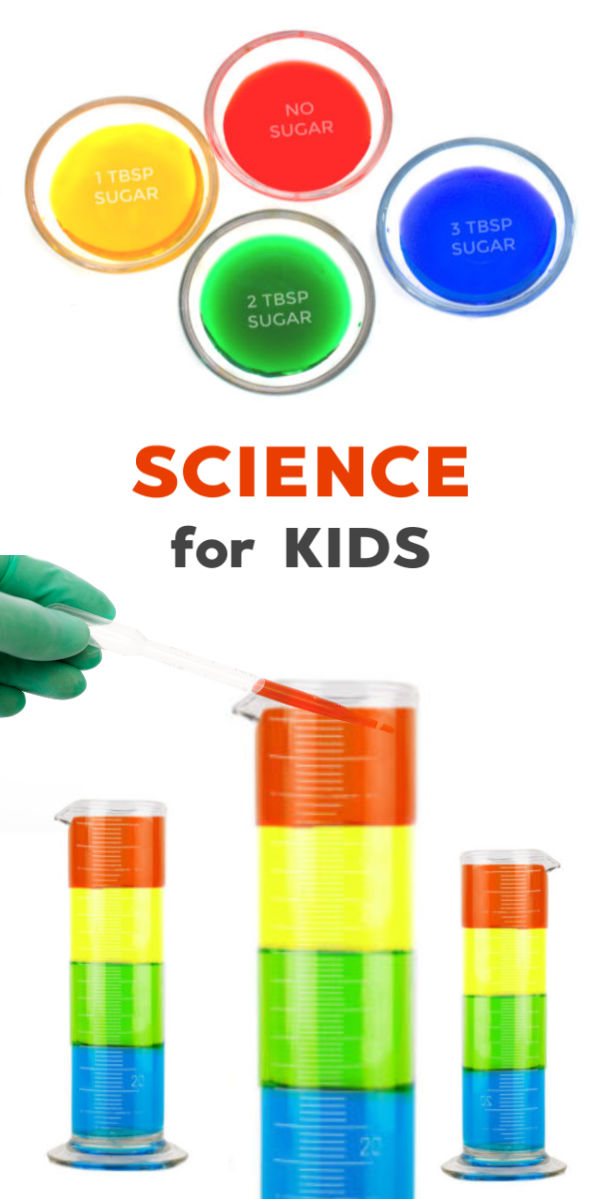 Make a sugar density rainbow in a jar!  This fun science experiment is great for kids of all ages and explores liquid densities in a beautifully visual way #sugarrainbowexperiment #sugarrainbow #sugardensity #sugardensityrainbow #densityexperimentforkids #densitysciencefairproject #densitytower #scienceexperimentskids #scienceexperiments