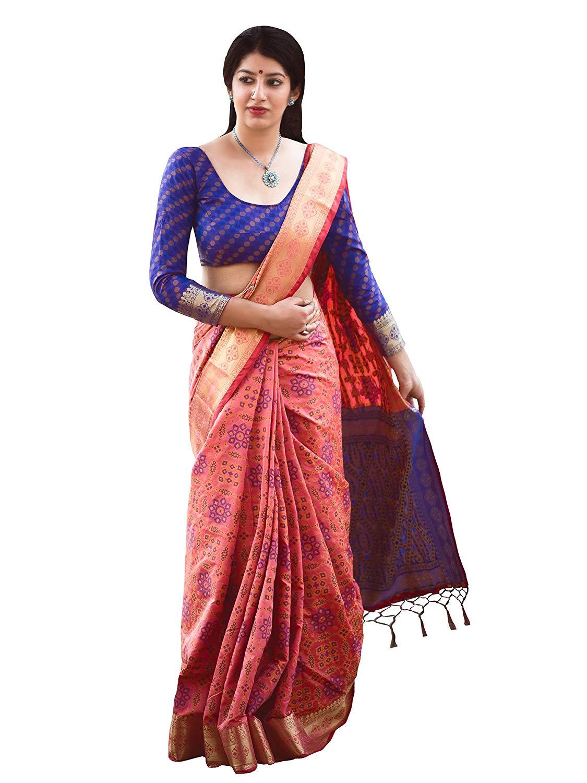 Applecreation Women'S Patola Silk Saree With Blouse Piece (7)